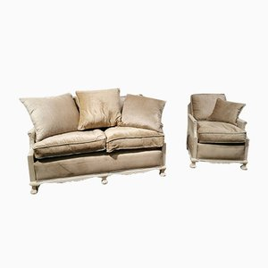 Sofa and Armchair Set from Bergere, 1920s