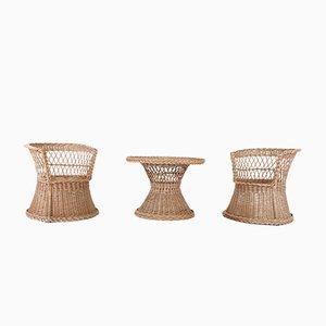 Set aus Korbtisch & Korbstühlen, 1960er, 3er Set