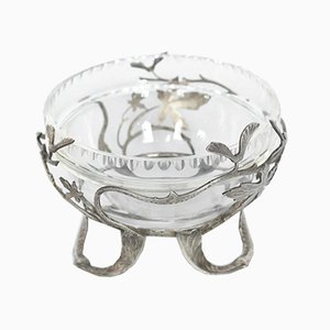 Antique Silvered Bronze and Glass Bowl