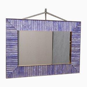 Specchio in vetro, ottone e velluto, anni '70