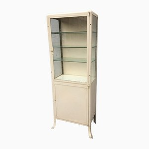 French Metal Medical Showcase Cabinet, 1960s