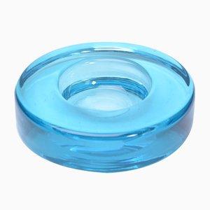 Cenicero vintage redondo de vidrio azul de Holmegaard, años 60
