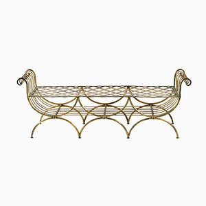 French Wrought Iron and Gilded with Gold Leaf Bench, 1948