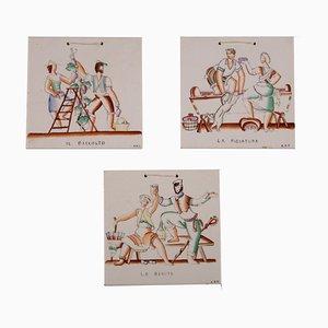 Keramikfliesen, 1930er, 3er Set
