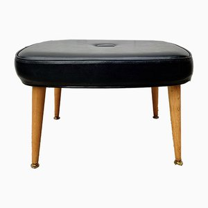Mid-Century Black Vinyl Ottoman from Sherboune