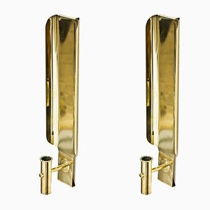 Brass Wall Sconces by Hans-Agne jakobsson for Hans-Agne Jakobsson AB Markaryd, 1970s, Set of 2