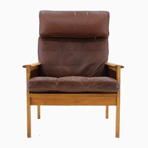 Leather Lounge Chair by Illum Wikkelsø for Niels Eilersen, 1970s