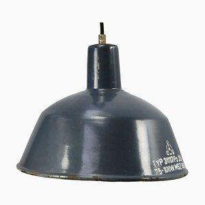 Lampe à Suspension d'Usine Industrielle Mid-Century en Émail Bleu