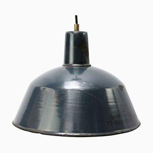 Blau emaillierte industrielle Mid-Century Fabriklampe