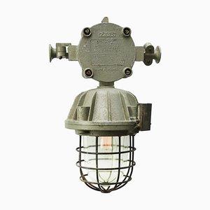 Industrielle Mid-Century Deckenlampe aus gegossenem Aluminium & Klarglas