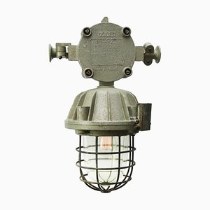 Mid-Century Industrial Cast Aluminum and Clear Glass Ceiling Lamp