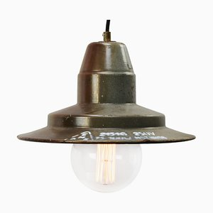 Mid-Century Industrial Gray Brown Enamel Factory Pendant Lamp
