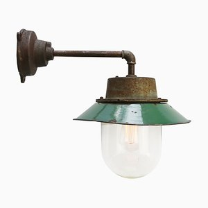 Mid-Century Industrial Petrol Enameled Cast Iron and Clear Glass Sconce, 1950s