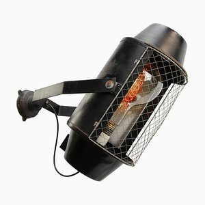 Mid-Century Industrial Black Metal Theater Sconce