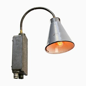 Mid-Century Industrial Gray Enameled Metal Sconce
