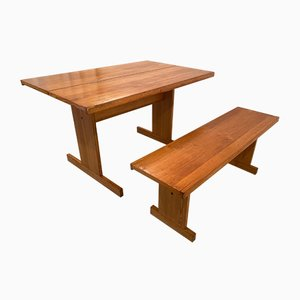 Dining Room Table with Bench by Ilmari Tapiovaara for Laukaan Puu Oy, 1970s, Set of 2