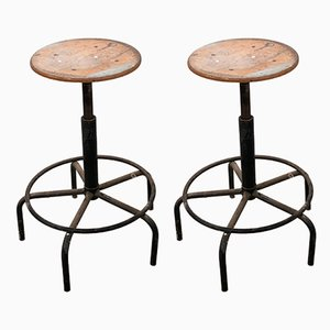 Dutch Industrial Factory Stools, 1950s, Set of 2