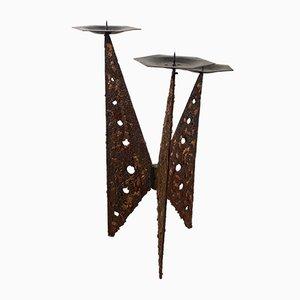 Candelero brutalista de hierro fundido y cobre, años 60