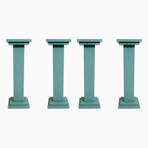 Pedestales estilo Art Déco de madera o plantas, años 80. Juego de 4