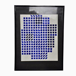 Tableau Tlinko Bleu SN par Victor Vasarely, 1956
