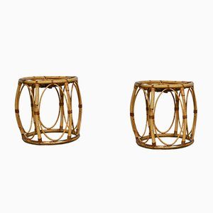 Mid-Century Rattan Stools, Set of 2