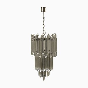 Lampada da soffitto in cristallo e acciaio, Italia, anni '60