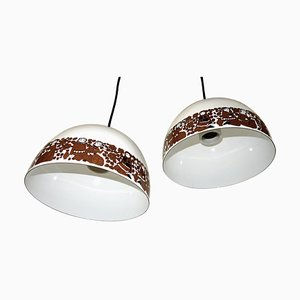 Enamel Pendant Lamps by Kaj Franck for Wartsila, 1970s, Set of 2
