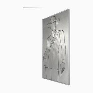 Pieza de pared David Bowie de aluminio grabado, años 80