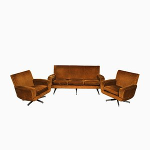 Sofa and Armchair Set from Manifattura Italiana, 1950s, Set of 3
