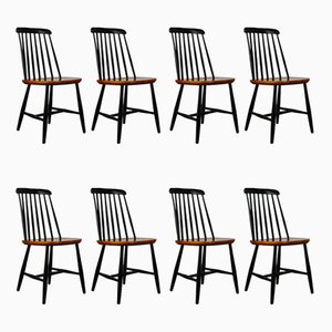 Mid-Century Swedish Slat Back Dining Chairs from Nesto, Set of 8