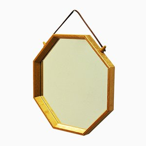 Swedish Octagonal Wall-Hanging Oak-Framed Mirror, 1960s