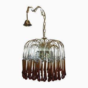 Lámpara de araña italiana vintage de cristal de Murano, años 70