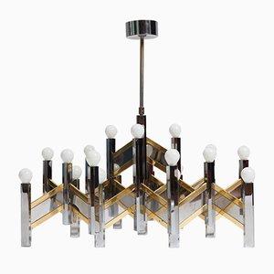 Lámpara de araña Zig Zag Mid-Century de Gaetano Sciolari para Lightolier