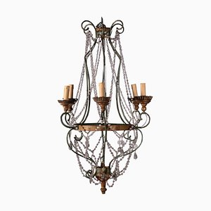 Antique Wrought Iron and Glass Chandelier