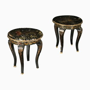 Vintage Lacquered Wood Stools, Set of 2