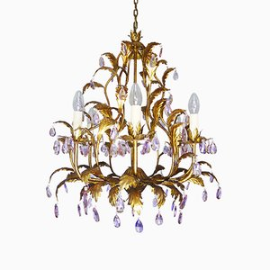 Italian Violet Crystal and Golden Frame Basket Chandelier, 1960s