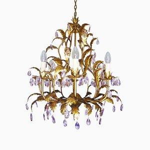 Italienischer Kronleuchter mit Behang aus violettem Kristallglas & goldenem Rahmen, 1960er