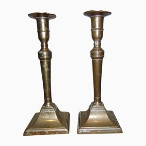 Antique Art Nouveau Brass Candleholders, Set of 2