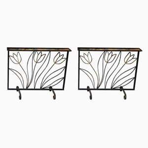 Art Deco Wrought Iron Room Dividers, 1940s, Set of 2