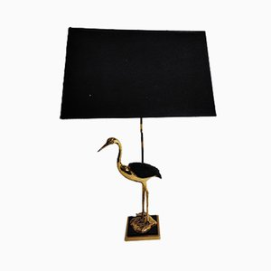 French Brass Crane Table Lamp, 1960s