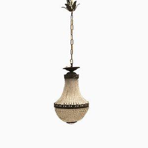 Lámpara de araña con cuentas de cristal, años 40