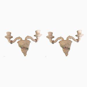 Apliques italianos de cerámica de La Farnesina, años 60. Juego de 2