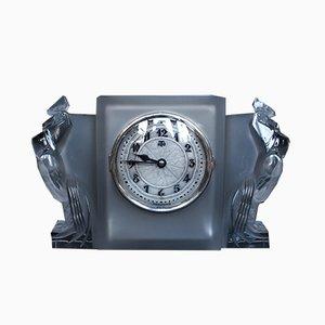 Horloge Art Déco en Verre par René Lalique, 1930s