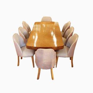 Art Déco Esstisch mit Stühlen, 1930er