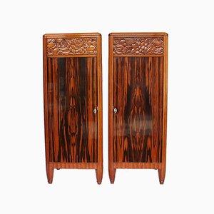 Art Deco Pedestal Cabinets, 1920s, Set of 2