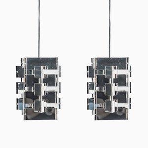 Lampes à Suspension Géométriques par J. J. M. Hoogervorst pour Anvia, 1950s, Set de 2