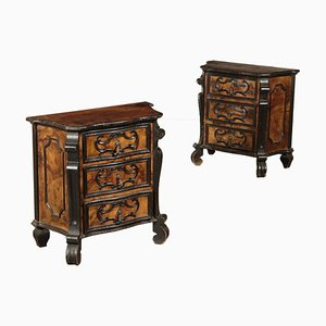 Vintage Ebony Wood Nightstands, Set of 2
