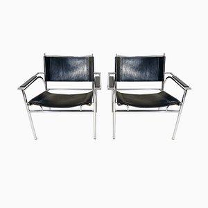 Armlehnstühle aus Stahl & Leder von Gerard Vollenbrock für Leolux, 1980er, 2er Set