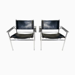 Steel and Leather Armchairs by Gerard Vollenbrock for Leolux, 1980s, Set of 2