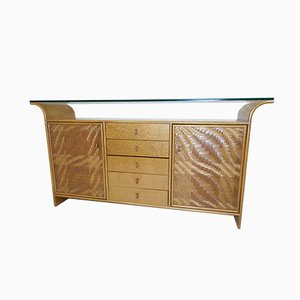 Vintage Bamboo, Glass, and Wood Credenza